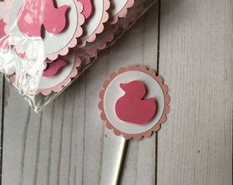 Pink Ducky Cupcake Topper - Ready to ship! Baby Shower Cupcake Topper