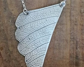 Sterling silver handmade Jewelry,  leaf pendant necklace, bohemian, nature lover, outdoor gift, rustic artisan Valentine gift for her
