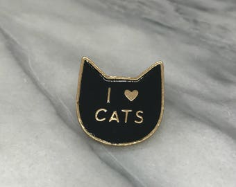 I Love Cats Enamel Pin for Denim Jacket Women's Clothing Lapel Pin Aqua and Gold Backpack Pin Back to School Accessories