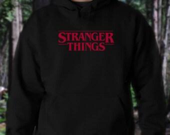 Stranger Things Black Hoodie with Red Logo