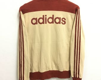 RARE!!! Adidas 3 Stripes Big Logo SpellOut Raglan Colour Zipper Sweaters Hip Hop Swag S Size