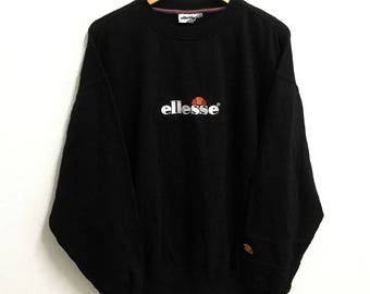 RARE!!! Ellesse Big Logo Embroidery Crew Neck Black Colour Sweatshirts Hip Hop Swag L Size