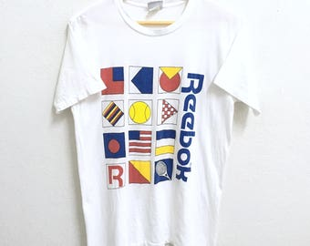 RARE!!! Reebok Big Logo Multicolor SpellOut Crew Neck White Colour T-Shirts M Size