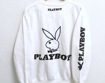 RARE!!! Playboy Big Bunny Embroidery Crew Neck White Colour Sweatshirts Hip Hop Swag LL Fit L Size