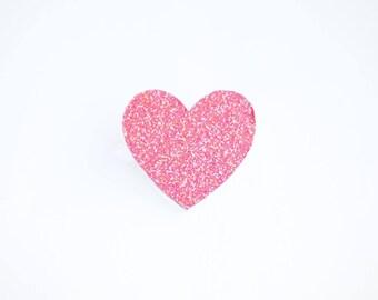"Brooch ""little coral glitter heart"""
