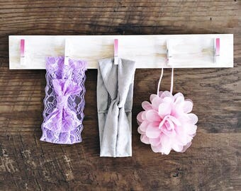 Clothespin Storage | Distressed Pink Ombre