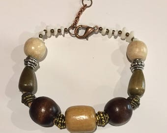 White Coral and Wood Beads Bracelet