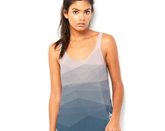 Abstract Print Geometrical Pattern Triangles Polygon Women's Novelty Scoop Neck, Flowy Tank with Side Slit with Unique Design