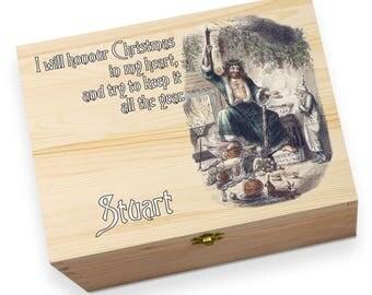 Christmas Carol Personalised Printed Christmas Eve Wooden Gift Box