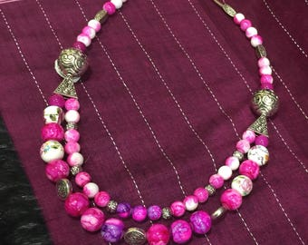 Necklace with Stone and silver beads with matching earrings! Text 770 731-3422 for more photos from my Collection .