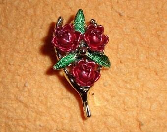 Vintage Gerry's Wishbone Enamel Roses  Gold Tone Brooch