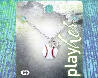 Customized Baseball Mom Enamel Necklace - Personalize with Jersey Number, Heart Charm, or Letter Charm! Great Baseball Mom Gift!
