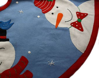 Snowmen in Blue Sky Tree Skirt