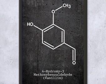 Framed Vanillin Molecule Vanilla Extract Science Art Print Gift, Vanilla Bean, Vanilla Flavor, Chemistry, Framed Science Print, Framed Print