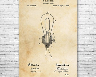 Edison Electric Lamp Light Bulb Poster Patent Art Print Gift, Thomas, Electricity, Engineer, Vintage, Wall, Home, Decor