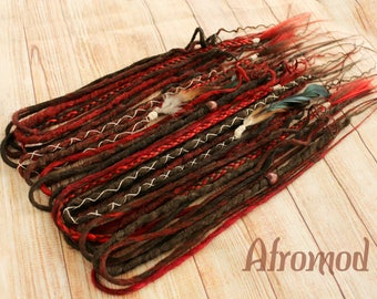 "Double Ended Synthetic Dreads Extension Red Brown ""Steppe Maiden Set"" Afromod"