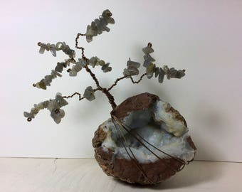 Gemstone Tree - Labradorite Gems on Milky Quartz Geode Base