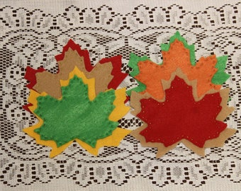 Fall Leaf Coaster Set, Autumn Leaf Coasters, Fall Coasters, Autumn Coasters, Coaster Set, Thanksgiving Decor, Harvest Decor, Fall Decor