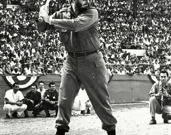 Cuban Prime Minster Fidel Castro Plays Baseball in Havana in 1959 - 5X7 or 8X10 Photo (OP-029)