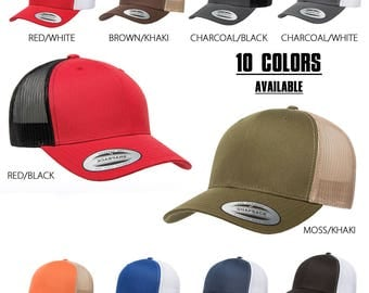 FlexFit Two Tone Trucker Hat Mesh Back and Pre-Curved Bill Adjustable Snap Back Strap- 10 Colors Available- Men and Women- One Size Fits All