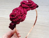 Red rose fascinator headband