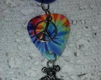 Tye dye guitar pick necklace