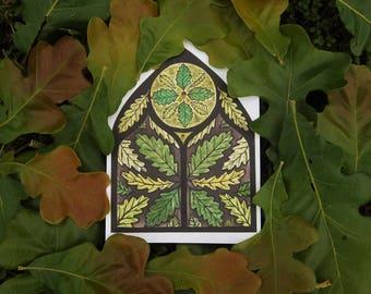 Irish Oak Cathedral Panel - 5x7 Watercolor Print