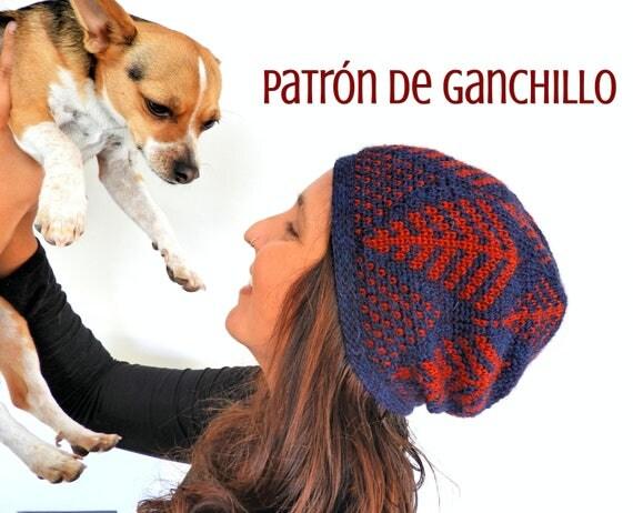 Patrón de Ganchillo Gorro Helechos