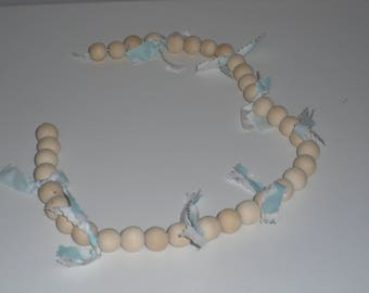 Guirlande perles bois natuel
