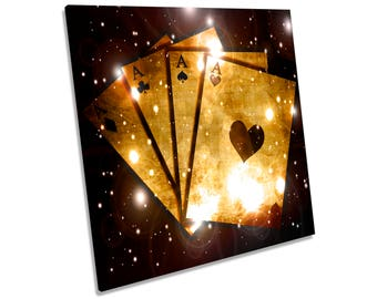 Aces Cards Poker Casino CANVAS WALL ART Square Print