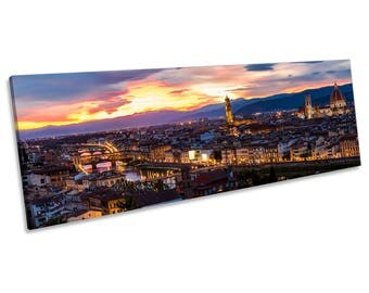 Florence City Sunset Italy CANVAS WALL ART Panoramic Framed Print
