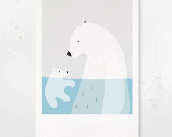 Children's A4 Poster - Eis Bären