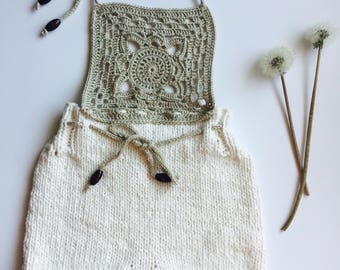 Knitted Baby Bodysuit // Soft Handmade Romper // 100% Cotton Baby Clothing