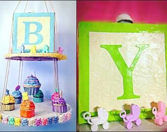 Cupcake Mobile, Cupcake Baby Shower, Block Mobile- Block Baby Shower, Baby Shower Decor, Cupcake Baby Mobile, Custom Colors, Cupcake Party