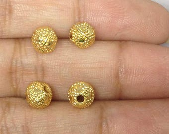 28 Dotted Round Engraved Antique Golden Beads - 28 Pieces 6 x 7mm - GD-11