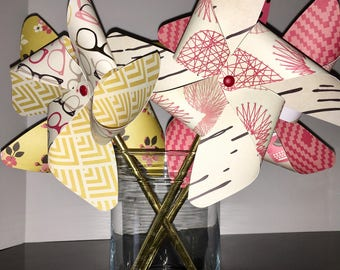 Fun, Classy Gold Foil with red Pinwheels, Party Pinwheels, Paper Pinwheels, Pinwheel Cake Toppers, Pinwheel Photo Props