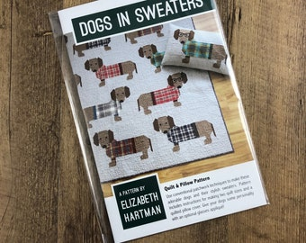 Dogs in Sweaters, Elizabeth Hartman, Quilt Pattern, Pillow Pattern, Dachshunds, Wiener Dogs, Dogs, Plaid, Quilt, Animal Quilt, Dog Lovers