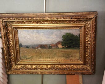 French antique oil painting on canvas, Landscape oil on canvas, Antique oil painting on canvas, 1920s french oil painting, Oil painting