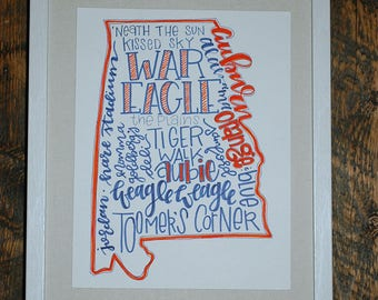 Auburn University Hand-lettered State