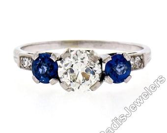 Antique Art Deco 14K White Gold 2.02ctw European Sapphire Diamond 3 Stone Ring