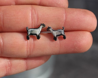 Alpine Goat Earrings : Stainless steel posts for sensitive ears Great gift for Goat lovers or goat loss memorial