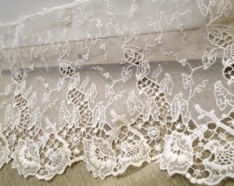 Antique Fine Lace French Antique Lace Fine Laces Elegant Flower Tulle Valencienne Lace Chantilly Lace Trim Baby Doll  Rare Fine Tulle Lace