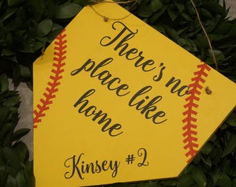 There's no place like home softball door hanger. Personalized door hanger. Sports door hanger. Softball home plate. Softball door hanger.