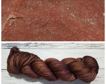 Hand Dyed Yarn, Merino, Silk, Lace Weight Tonal Yarn Perfect for Shawls and Other Lightweight Accessories - Raw Jasper