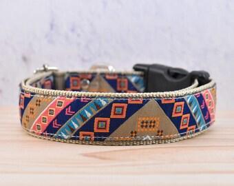 Geometric patterned Adjustable Dog Collar / Ethnic / hippie / boho / Ganado petterned / Chinle Patterned /colorful