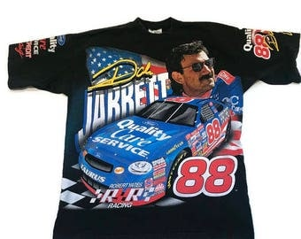 Vintage Dale Jarrett NASCAR Tee Shirt Ford Racing Flying Colors Chase Authentics 90s Size XL