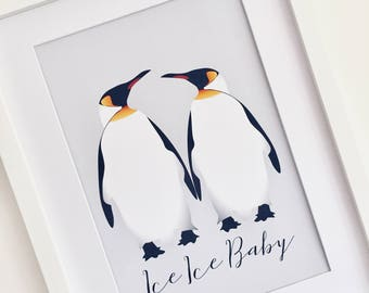 Penguin Picture, Quote Print, Wall Art, Gift for Girlfriend, Teenager Gift, Penguin Print, Penguin Gift, Nursery Decor, Emperor Penguin