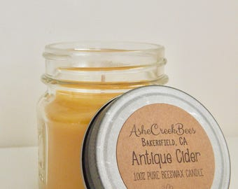 Antique Cider Scented 100% Pure Filtered Beeswax Candle