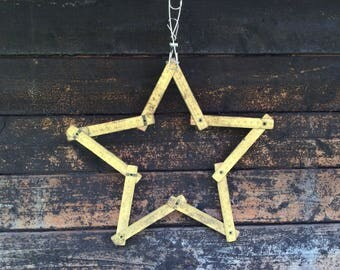 Vintage Wooden Meter - Old Wooden Meter - Wooden meter - Star decoration - Wooden star - Carpenter Tool - Measuring Tool - Old Folding Meter