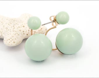 Front Back Earring, Double Sided Earring, Double Ball Earring, Green Ball Earring, Stud Earring, Ear Jacket, Gift For Her, Mom Gift, 6414EF